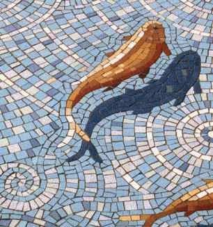 15 best fish pond mosaic images on pinterest mosaic for Koi fish pool table