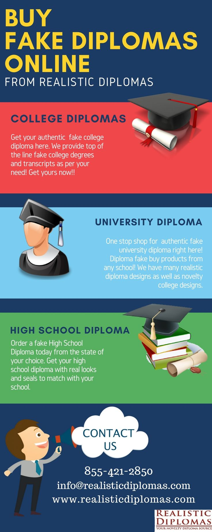 Do you want to buy a fake diploma from a School, College or University?  http://www.realisticdiplomas.com/category.aspx?categoryID=64Realistic Diplomas offer varieties of fake school, college and university diploma according to your need. Check out our website and get your diploma now!