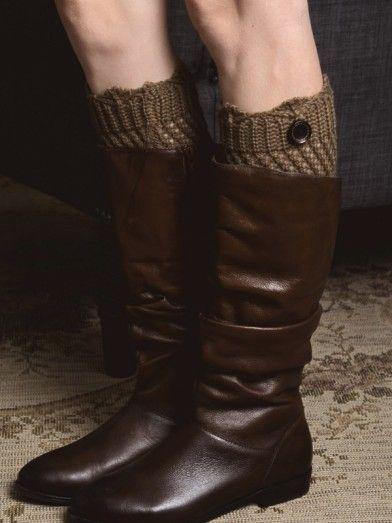 Crochet Boot Cuff With Button