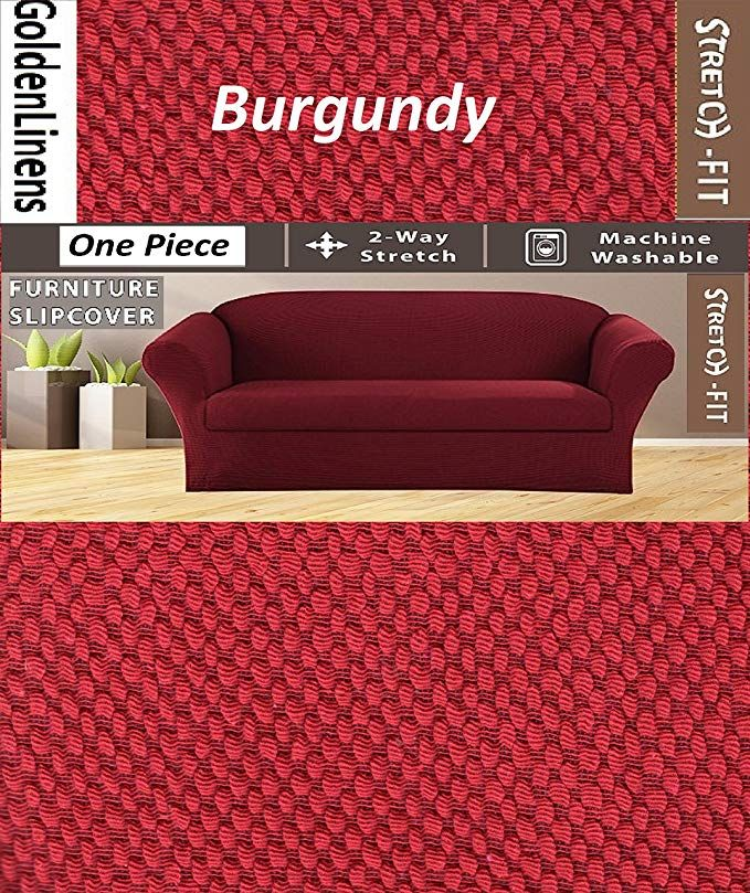 Golden Linens One Piece Sofa Furniture Slipcovers Fit Most Standard Sofas Burgundy Review
