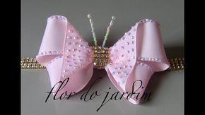 Como fazer uma borboleta de fita de gorgorão fácil e rápida,podendo ser usada para tiaras fivelas ,ornamentações,broches. Passo a Passo.