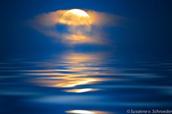 Blue Moon, Nature Photography, Moon Rise, Night Sky, Fine Art Print, Water, Lake, Navy Blue, Yellow, Serene, Magical, Reflection, Home Decor  Ask a Question $22.00 USD. USA