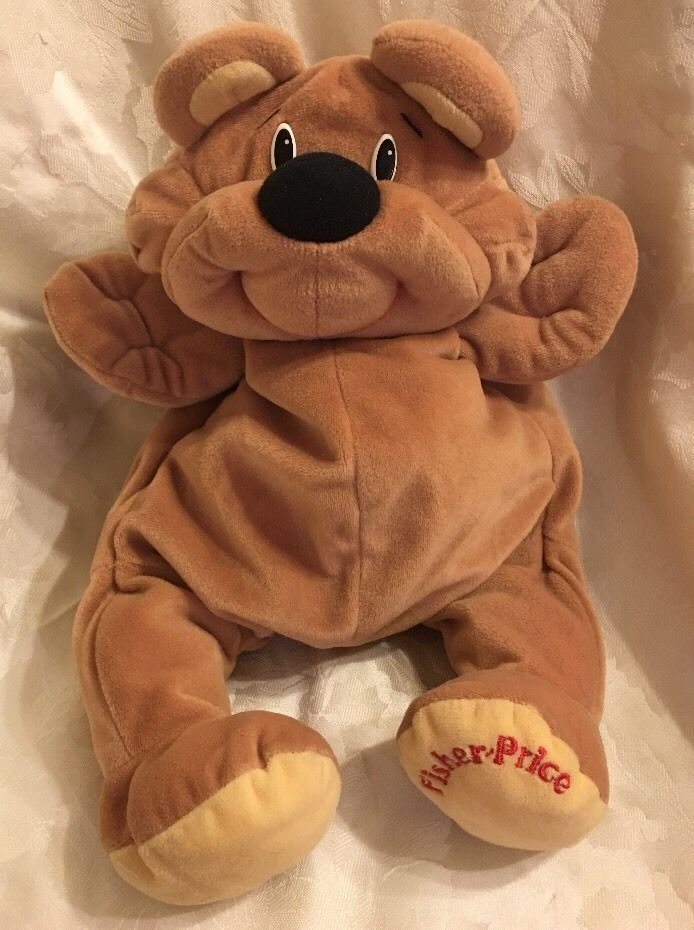90's FISHER PRICE RUMPLE RUMPLES HONEY BROWN 1993 Bear Dog Plush Stuffed Animal #FisherPrice
