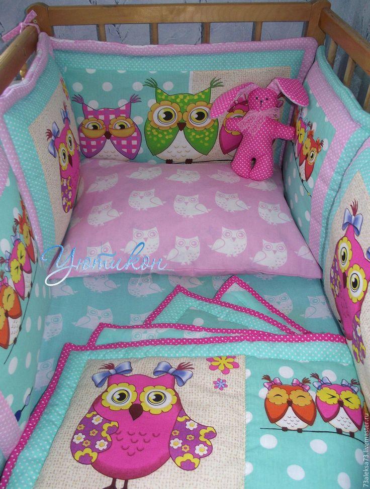 Купить Бортики Розовые совы. Комплект в кроватку. Одеяло - розовый, рисунок, бортики в кроватку