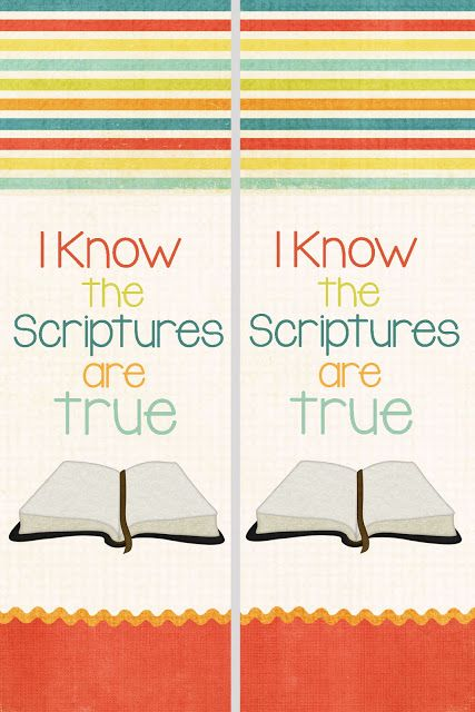 "A Pocket full of LDS prints: Free primary prints for the 2016 Primary Theme, ""I Know the Scriptures Are True."""