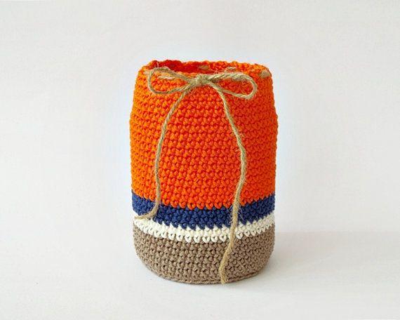 Crochet organizer cotton pen holder eco friendly by DiaCrochets