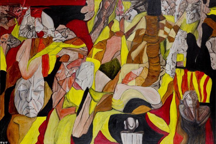 Wojciech Tut Chechliński, Sterowanie światem, olej na płótnie, 100 x 150 cm, 2012 r, sygnowany (kat. 118)