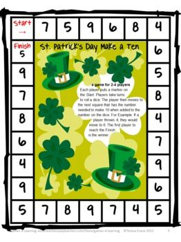 FREEBIE - St. Patrick's Day Make A Ten Math Game from Games 4 Learning. Also includes 2 more math printables.