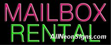 "Neon Sign - MAILBOX RENTAL-10090-0908  13"" Wide x 32"" Tall x 3"" Deep  110 volt U.L. 2161 transformers  Cool, Quiet, Energy Efficient  Hardware & chain are included  6' Power cord  For indoor use only  1 Year Warranty/electrical components  1 Year Warranty/standard transformers."
