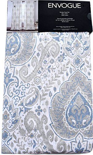 Envogue Pamela Damask Paisley Medallions Pair of Curtains 2 window panels 50 by 96-inch Taupe Dusty Blue Grey Beige Metallic Silver Ivory, http://www.amazon.com/dp/B01DWMLIPI/ref=cm_sw_r_pi_awdm_mtBAxb26RAAHD
