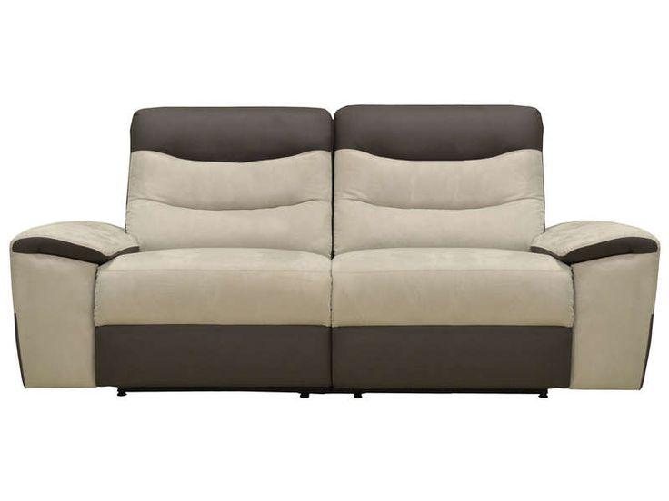 Canapé relaxation 2 places FOSTER coloris gris clair/anthracite prix promo Canapé Conforama pas cher 599.75 € TTC au lieu de 854 €