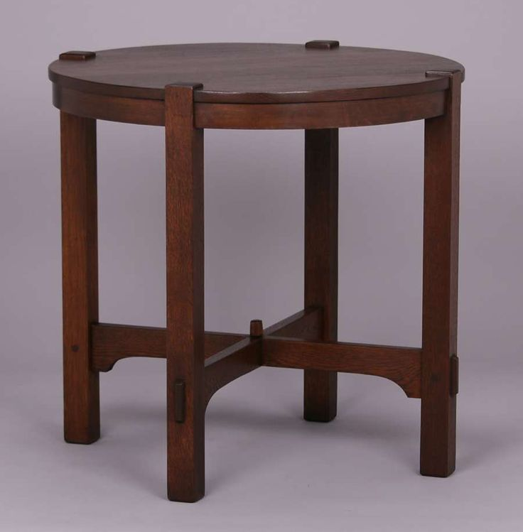 Gustav Stickley lamp table c1904-1907.  Unsigned.  Refinished.