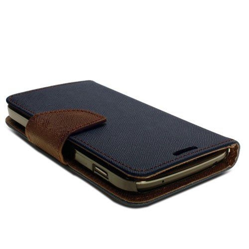 GMYLE (TM) Blue and Brown PU Leather Folio Wallet Magnetic Flip Pouch Stand Case Cover for LG Google Nexus 4 E960 (with Money & Card slots): Amazon.ca: Cell Phones & Accessories