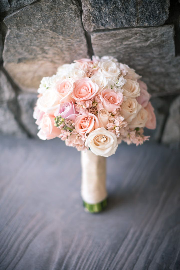 Simple pretty stock and rose bouquet. Such a beautiful spring wedding bouquet! Strawberry Farms Wedding Photography