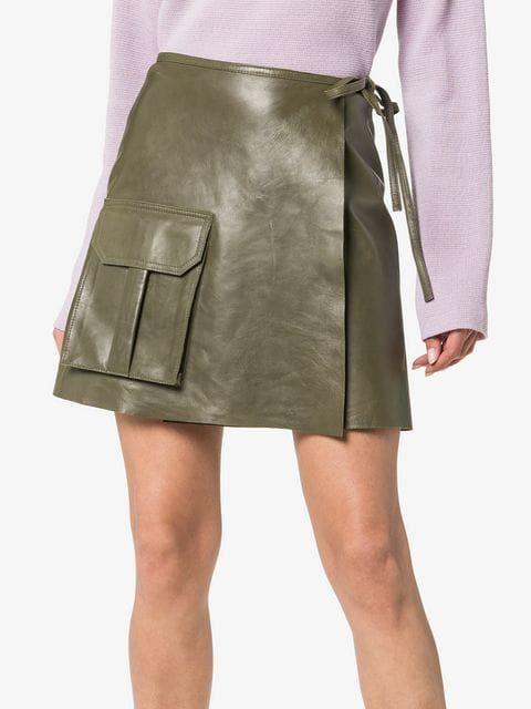 94dfff81ccf6 Ganni Meranti Utility Pocket Leather Wrap Skirt in 2019 | skirts ...