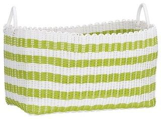 Woven Green and White Laundry Basket - contemporary - hampers - by Crate