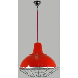 Studio Small Metal Red Shade with cage on Industrial Red cloth cord