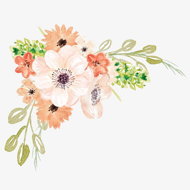 Watercolor flowers, Cartoon, Hand Painted, Watercolor PNG Image