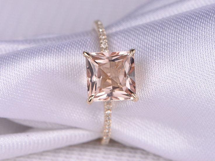 8mm Princess Cut pink morganite Engagement ring,Solid 14k rose gold,gemstone,diamond Wedding Band,bridal ring,Claw Prongs,Custom made ring by milegem on Etsy
