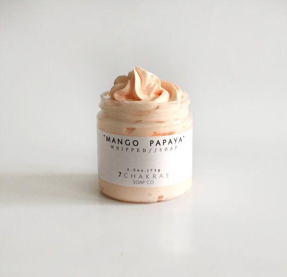 Whipped Soap 4 oz jar Mango Papaya Cream Soap by 7ChakrasSoap