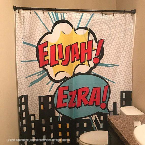 Superhero Shower Curtain Personalized Kids Shower Curtain