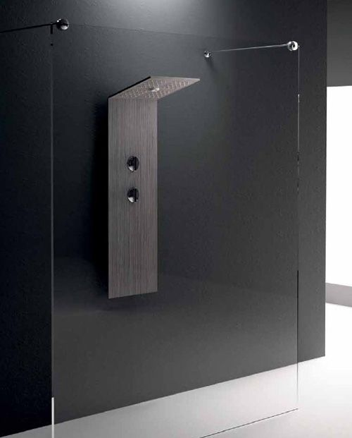 Minimalist Shower Column by Treesse with folding head