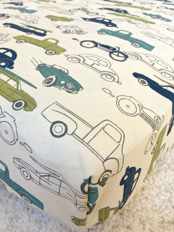 Vintage Cars Cotton Crib Sheet Retro Crib by RitzyBabyOriginal