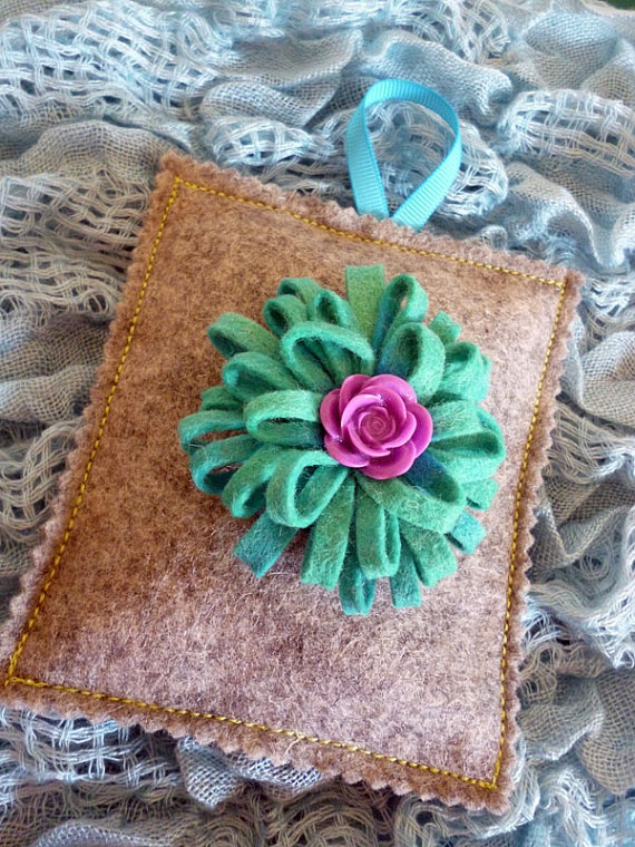 Wool felt lavender bag with green felt by ColourSplashbyCath, £8.50