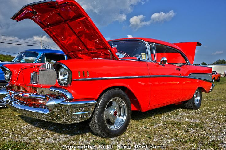 Beautiful red paint job on this 57 Belair at custom car