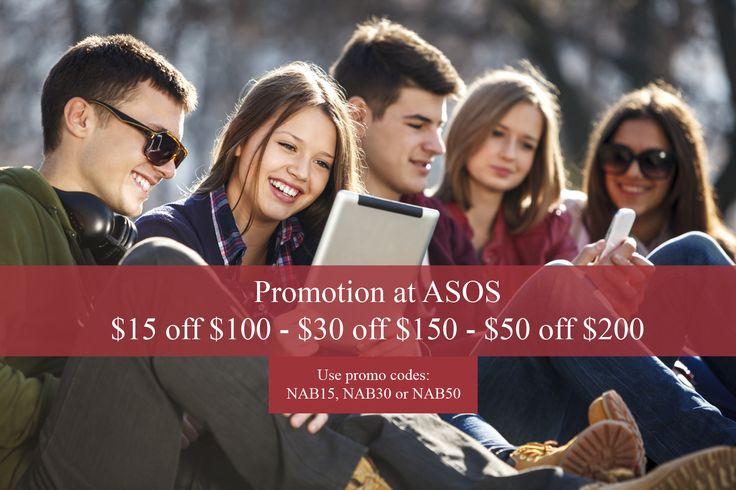 Up to $50 off at ASOS AU. Enter promo codes NAB15, NAB30 or NAB50 at check out.