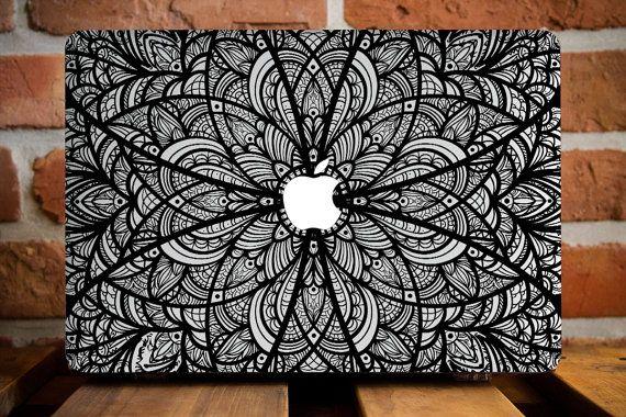 MacBook Air 13 cas MacBook Air housse MacBook Air 11 dur cas Mac Air 11 housse MacBook Air couvercle en plastique Mac 11 cas fleur noire Mandala