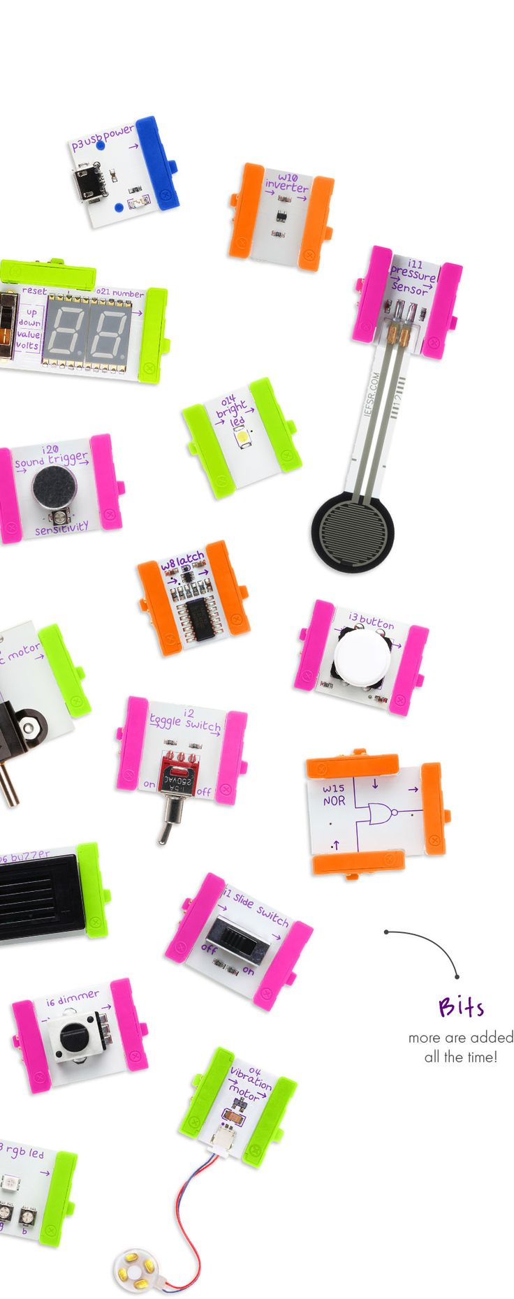 For the people who want to realize a kinetic/electronic/sensor project but have now previous experience in this field: LittleBits ... go and visit the website.