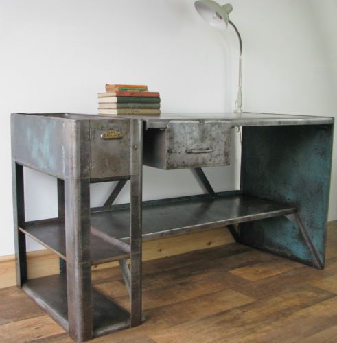 Vintage Industrial Steel Workbench 1940 S 1950 S Art Deco