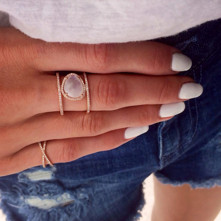 14kt rose gold and moonstone double band diamond ring  u2013 luna skye by samantha conn