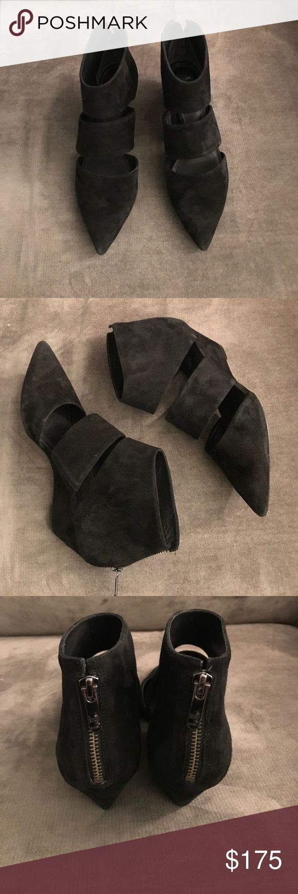 NEW! Belle by Sigerson Morrison Booties Black suede Belle by Sigerson Morrison cutout booties in the Wagner style. Booties have a zip back closure and approximately 2.5 inch wedge heel. There is some wear on the soles but suede and inside of the shoe are in overall very good condition. Size 8 and true to size. Belle by Sigerson Morrison Shoes Ankle Boots & Booties