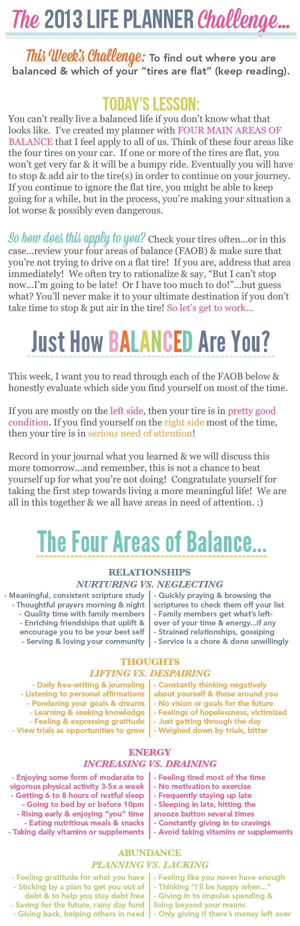 Day one of my life planner challenge...Just How Balanced Are You?...for RRR who is on a good path. I love you. :-)