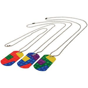 BLOCK MANIA DOG TAGS. Modeled after his favorite toy, these unique metal dog tags on bead chains feature the familiar brick building patterns kids love. Perfect for party favors, Easter basket treats and Christmas stocking stuffersSize Dog tag 2 X 1 Inches, Chain size: 24 Inches , packaging 6 X 5 Inches