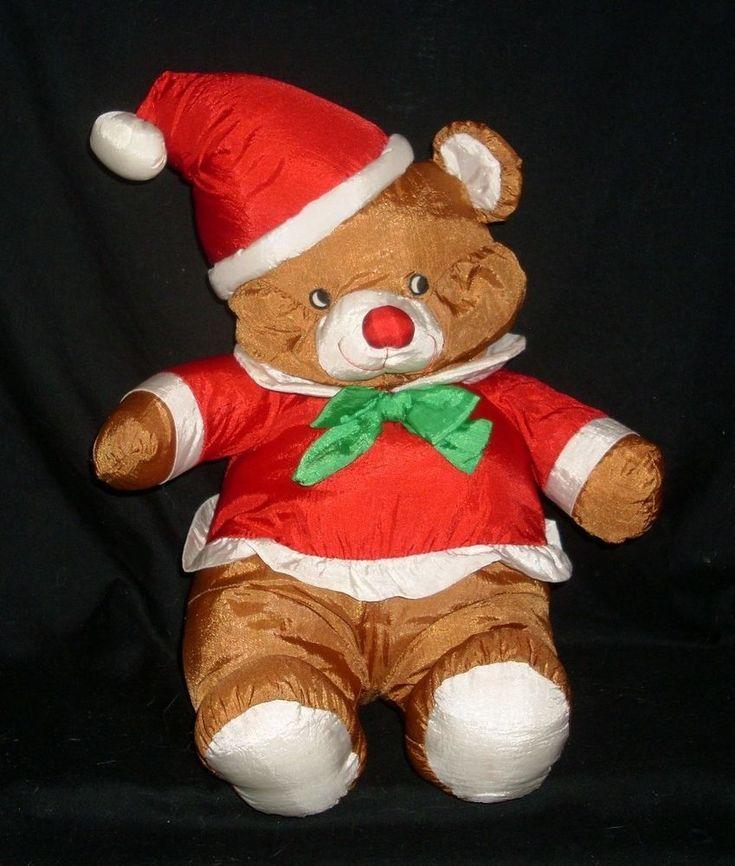 "16"" VINTAGE CHRISTMAS NYLON BROWN TEDDY BEAR STUFFED ANIMAL PLUSH TOY SANTA HAT"