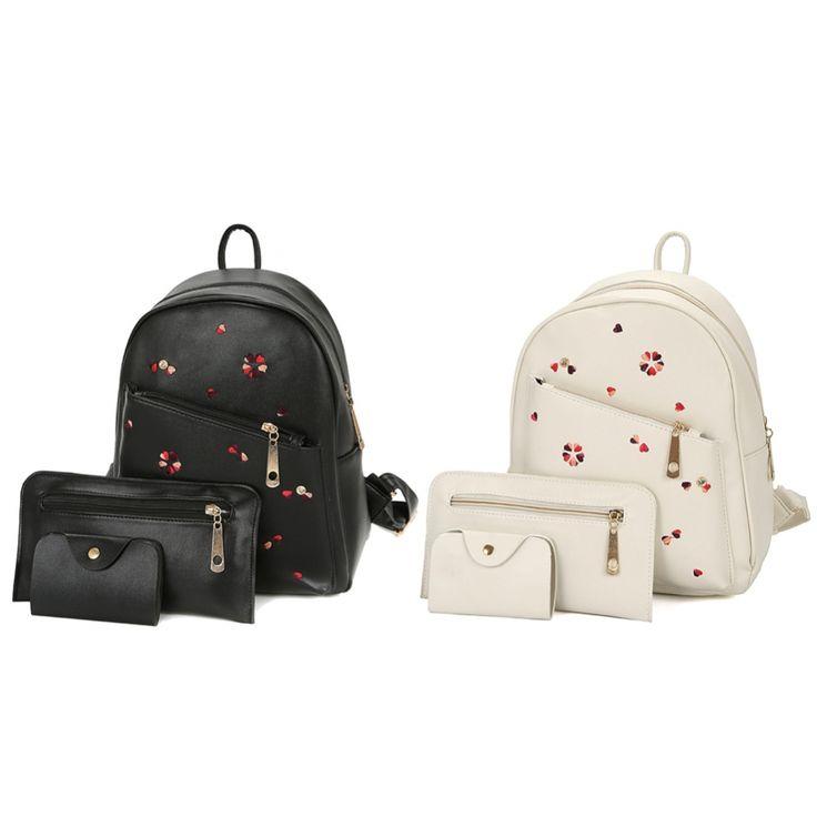 Тройной набор из экокожи: рюкзак, кошелек и визитница с вышитыми сердечками - 18088