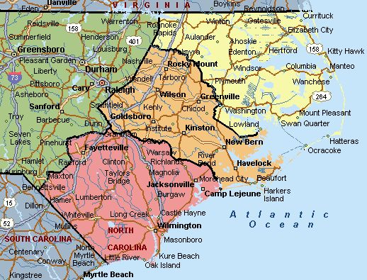 North Carolina East Coast Map MAP - Map of north carolina with cities