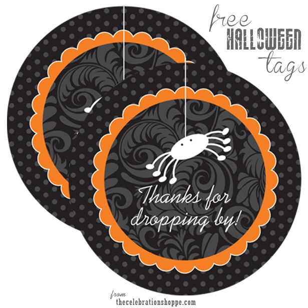 free halloween spider gift and favor tags - Halloween Spiders
