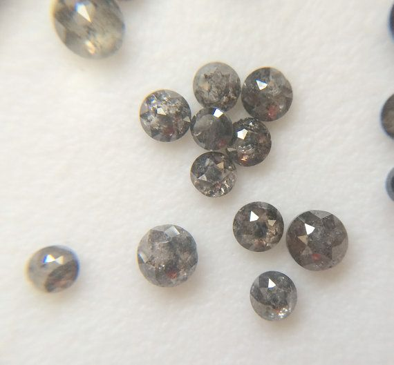 Salt And Pepper Rose Cut Diamond 4mm Black And by gemsforjewels