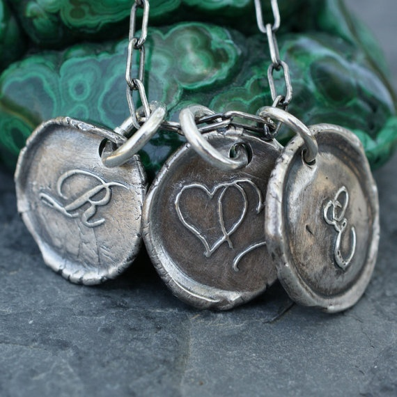 3 wax seals $83: Seals Jewelry, Oooohhh Shiny, Details, Seals Charms, Wax Seals, Art Ideas, Personalized Gift, Softer Side, Fine Silver