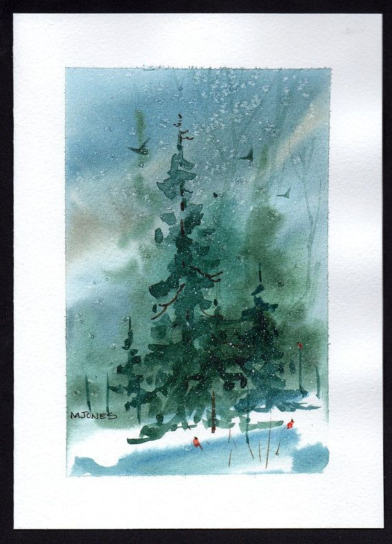 home made professional painted christmas cards | Hand painted Watercolor Christmas Card by mjonesart on Etsy