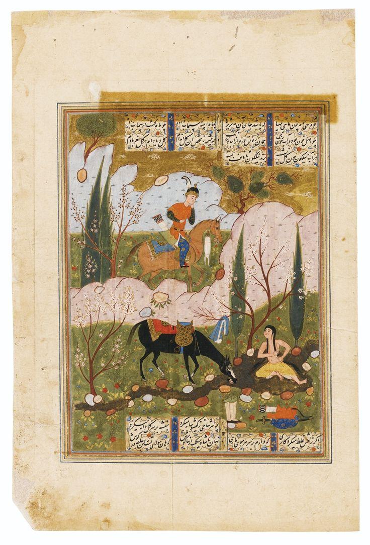 TWO ILLUSTRATED LEAVES FROM A COPY OF THE KHAMSA OF NIZAMI: KHUSRAW AND SHIRIN ; LEYLA AND MAJNUN, SAFAVID PERSIA, 16TH CENTURY