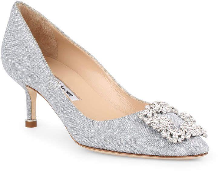 Hangisi 50 Notturno Silver Glitter Pumps In 2020 Manolo Blahnik