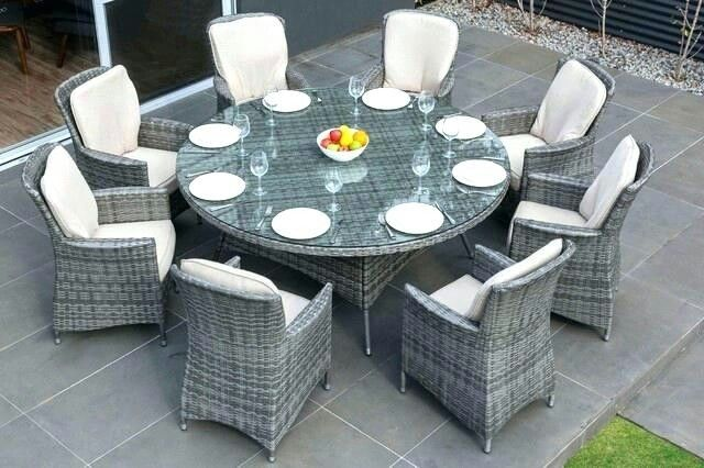 Grey Wicker 8 Seat Outdoor Dining Set Wicker Dining Set