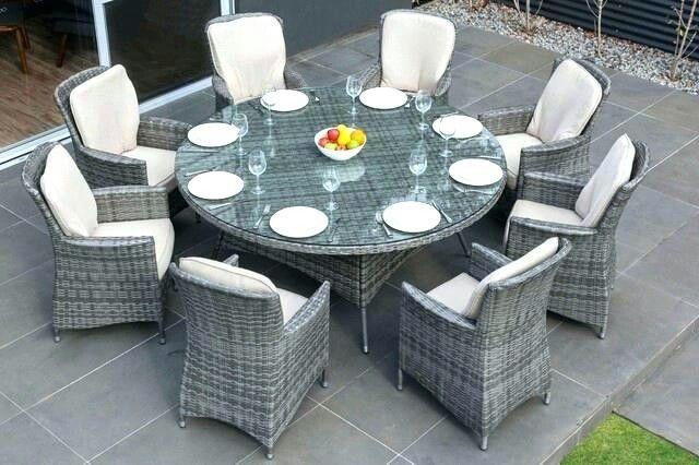 Grey Wicker 8 Seat Outdoor Dining Set Wicker Dining Set