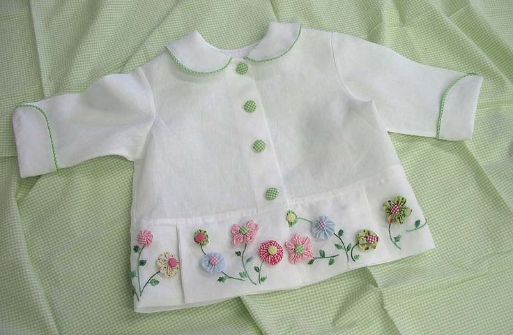 """Gigi"""", in white Irish Cambric linen, piped in lime pima gingham w/lime gingham covered buttons as a front closure, embellished at the bottom with a flower garden of yo-yo flowers"""
