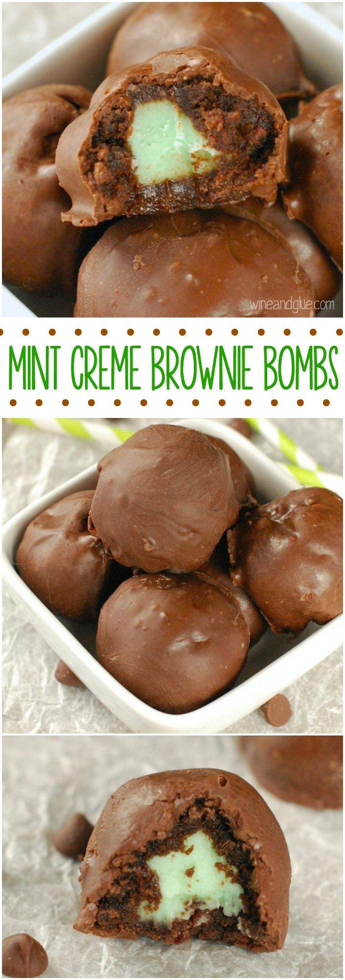Mint Creme Brownie Bombs | Irresistible brownie truffles filled with mint creme!